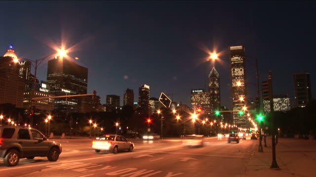 View of heavy traffic at night in Chicago United States