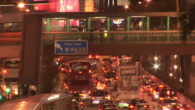 view of heavy traffic at night in hong kong china - median nerve stock videos & royalty-free footage