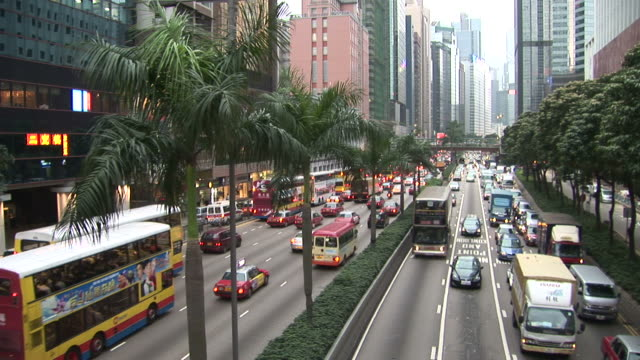 view of heavy traffic in hong kong china - median nerve stock videos & royalty-free footage
