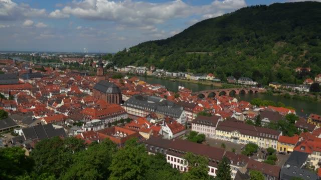 view of heidelberg and neckar river, heidelberg, baden-wurttemberg, germany, europe - neckar river stock videos & royalty-free footage