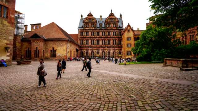 view of heidelberg castle in germany - cobblestone stock videos & royalty-free footage