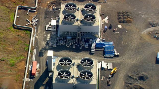 WS AERIAL View of Hellisheidi geothermal power plant / Iceland