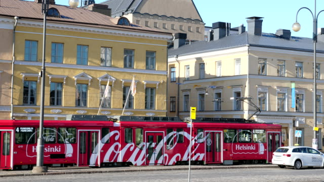 View of Helsinki city and tram