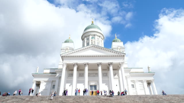 view of helsinki lutheran cathedral - helsinki video stock e b–roll