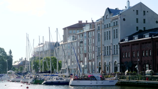 view of helsinki with yachts - finlandia video stock e b–roll