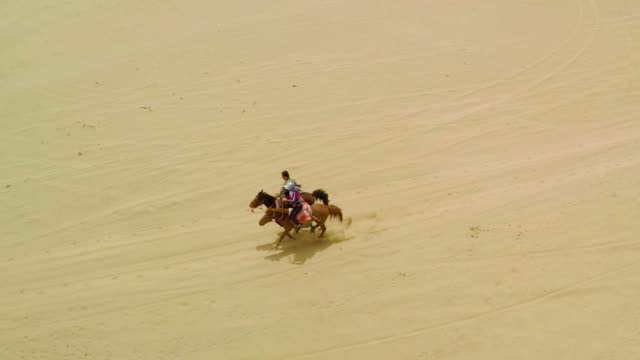 ws aerial view of herdsmen pranced on the tengger desert/alashan, inner mongolia, - all horse riding stock videos & royalty-free footage
