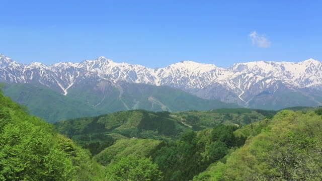 WS View of Hida Mountains, Snow-capt mountains and Northern Alps / Hakuba, Nagano Prefecture, Japan