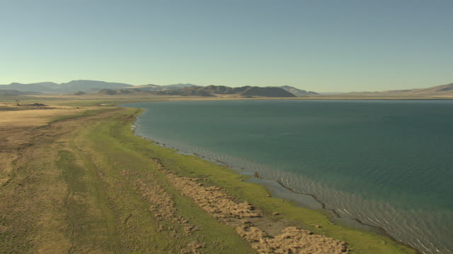 ws aerial view of high along shore of pyramid lake with green growth and mountains in background with strong sunshine / nevada, united states - sunshine lake bildbanksvideor och videomaterial från bakom kulisserna