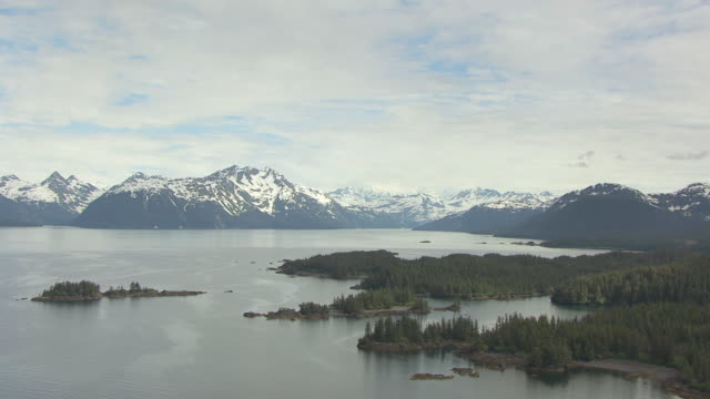 ws aerial view of high flying over prince william sound / alaska, united states - prince william sound stock videos and b-roll footage