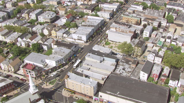 WS AERIAL View of high over Ferry Street at Wilson Avenue and Merchant Street / Newark, New Jersey, United States