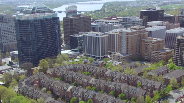 WS ZI AERIAL POV View of high rise buildings / Rosslyn, Arlington County, Virginia, United States