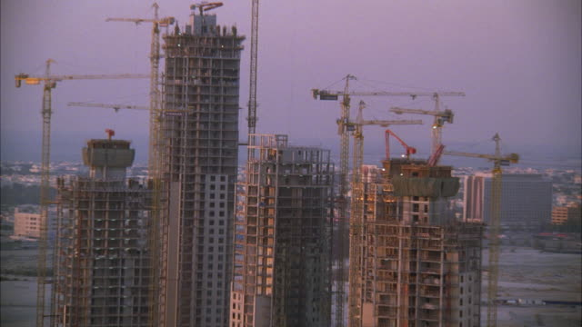 WS PAN View of high rise buildings under construction