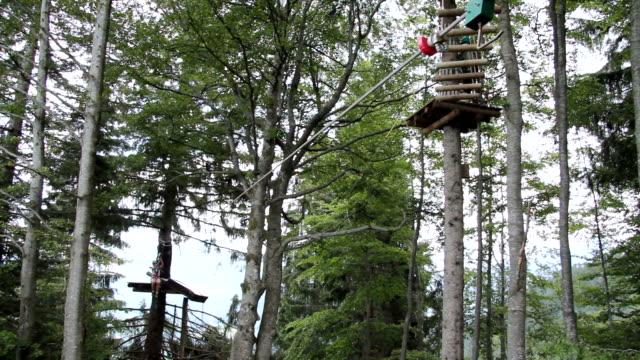 vídeos de stock e filmes b-roll de ms pan view of high rope course at sollereck  / oberstdorf, bavaria, germany  - arnês de segurança
