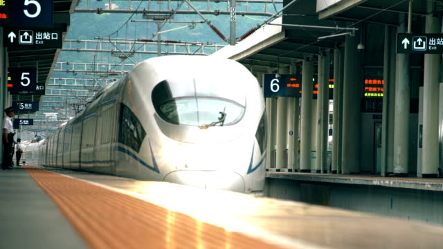 view of high-speed rail station,sichuan,china. - vanishing point stock videos & royalty-free footage