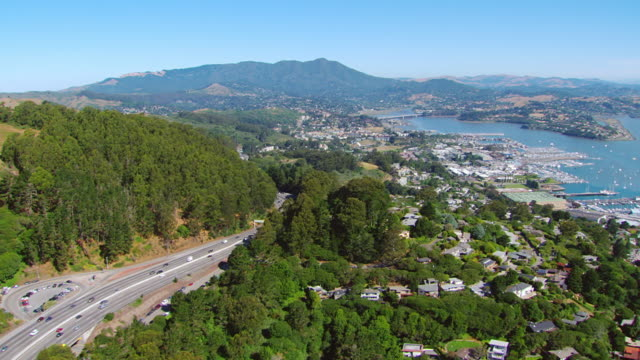 ws ts aerial view of highway 1 with bay on right / sausalito, california, united states - marin stock videos & royalty-free footage