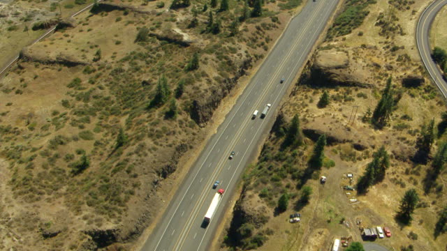 WS AERIAL View of highway and Columbia River in Columbia River Gorge / Oregon, United States