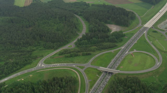 ws aerial zo view of highway / germany - elevated road stock videos & royalty-free footage