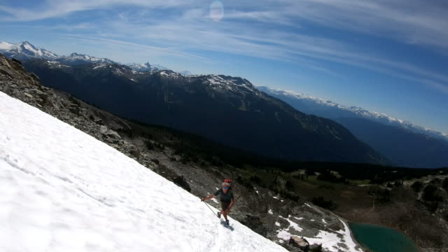 pov view of hikers ascending mountain snowslope - ski holiday stock videos & royalty-free footage