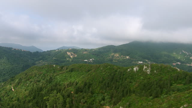 WS AERIAL View of hill forest near Kerkyra (Corfu city) / Corfu, Ionian Islands, Greece