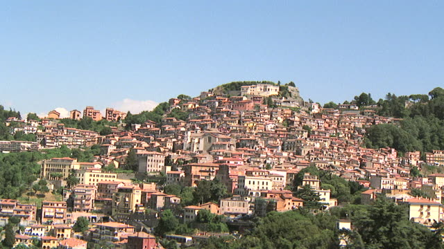 WS AERIAL View of hillside houses in small Roman town / Rome, Italy