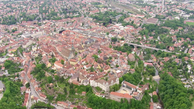 ws aerial td view of hilltop town in eastern saxony, most important cultural center of sorbs / bautzen, saxony, germany - saxony stock videos & royalty-free footage