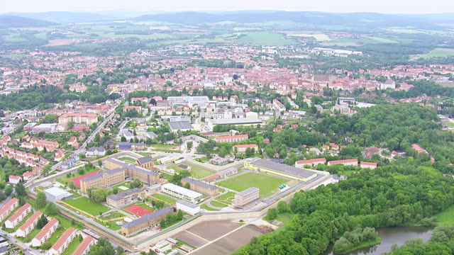 ws aerial view of hilltop town in eastern saxony, most important cultural center of sorbs / bautzen, saxony, germany - saxony stock videos & royalty-free footage
