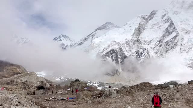 view of himalaya mountain everest based camp in nepal. - base camp stock videos & royalty-free footage