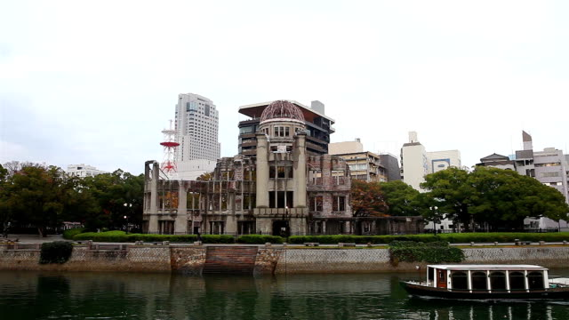 view of hiroshima atomic dome in evening - nuclear weapon stock videos & royalty-free footage
