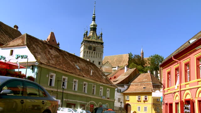 ms zi view of historic clock tower /sighisoara, romania - mures stock videos & royalty-free footage