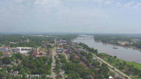 ws aerial view of historic district looking north up missouri river / st charles, missouri, united states - missouri stock videos & royalty-free footage
