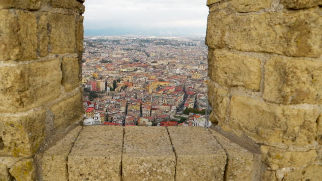 a view of historic naples, italy from castel santelmo - castello video stock e b–roll