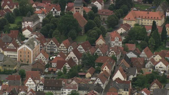 aerial view of hofgeismar, hesse, germany - timber stock-videos und b-roll-filmmaterial