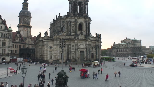 ws view of hofkirche and semperoper / dresden, saxony, germany - hofkirche stock videos & royalty-free footage