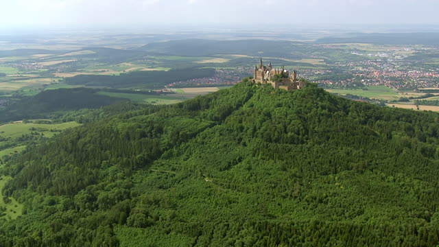 WS AERIAL ZO View of Hohenzollern Castle on top of mount Hohenzollern / Bisingen, Baden Wurttemberg, Germany