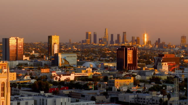t/l, ws, ha, view of hollywood at dusk, los angeles, california, usa - cinerama dome hollywood stock-videos und b-roll-filmmaterial
