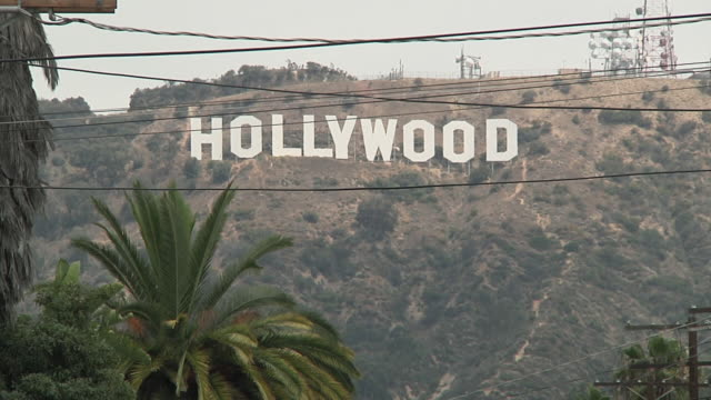 WS View of Hollywood sign on hill / Los Angeles, California, USA