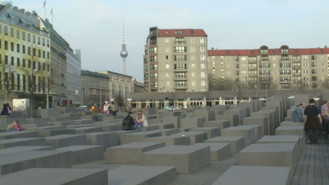 ws view of holocaust memorial at komische oper  / berlin, germany - us embassy stock videos & royalty-free footage
