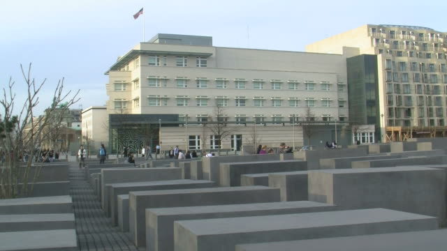 ws view of holocaust memorial, komische oper and us embassy / berlin, germany - embassy stock videos and b-roll footage
