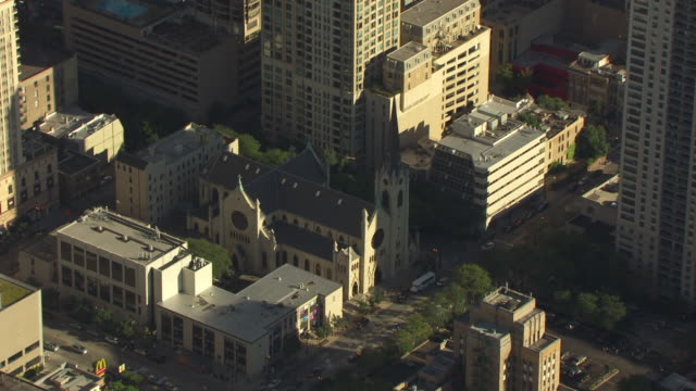 MS AERIAL POV ZO View of Holy Name Cathedral / Chicago, Cook County, Illinois, United States