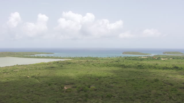 WS AERIAL POV View of Hombre de Puerto Ferro Archaeological Site near bay / Vieques, Puerto Rico, United States