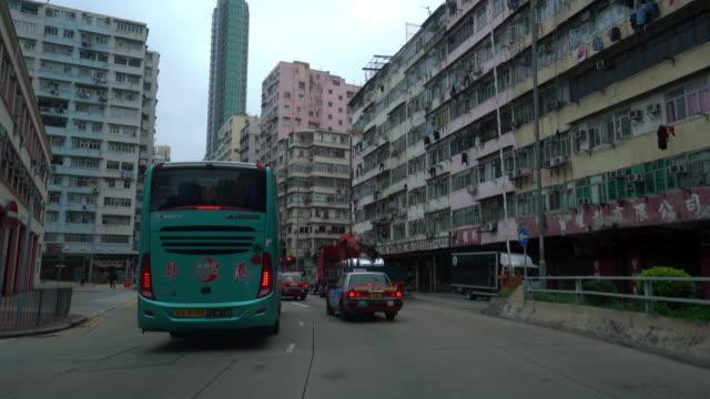 Uitzicht op Hong Kong stad vanaf auto.