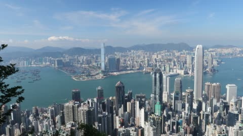 view of hong kong island and kowloon skylines from victoria peak, hong kong - hong kong island stock videos & royalty-free footage