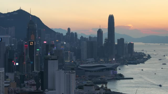 view of hong kong island and victoria harbour, hong kong - hong kong island stock videos & royalty-free footage