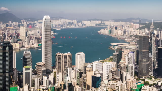 t/l ws ha pan view of hong kong skyline / hong kong, china - victoria peak stock videos & royalty-free footage
