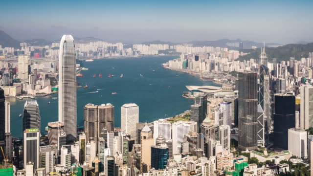 t/l ws ha zo view of hong kong skyline / hong kong, china - victoria peak stock videos & royalty-free footage