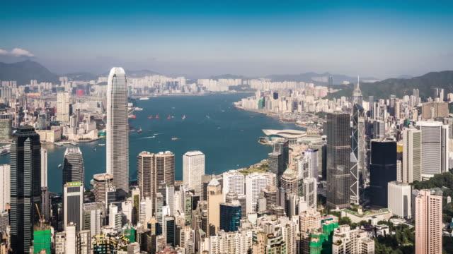 stockvideo's en b-roll-footage met t/l ws ha zi view of hong kong skyline / hong kong, china - hongkong eiland