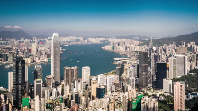 T/L WS HA View of Hong Kong Skyline / Hong Kong, China