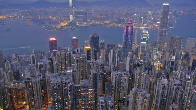 view of hong kong time lapse from victoria peak - hsbc main building stock videos and b-roll footage