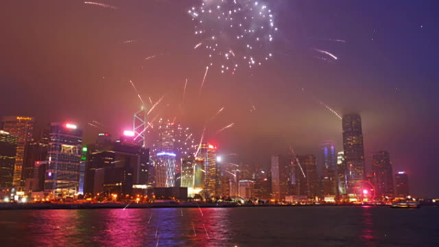 View of Hong Kong with beautiful firework.
