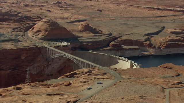 WS AERIAL View of Hoover Dam bypass bridge / Arizona, United States